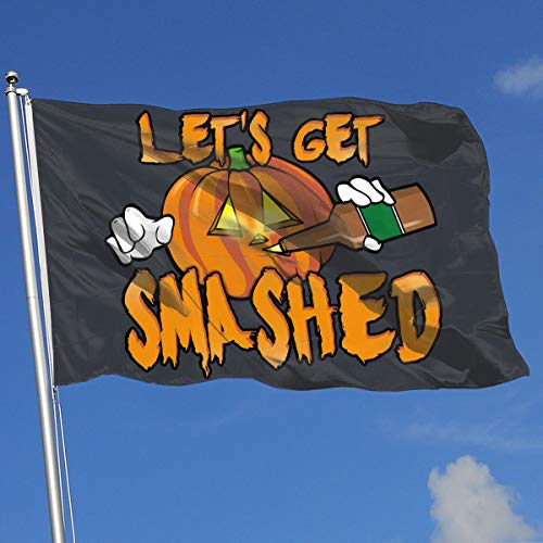 DAFASELL Let's Get Smashed Halloween Pumpkin Drinking Beer 3×5 Feet House Flag
