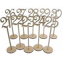 PIXNOR 10pcs números 21–30Números de mesa de madera