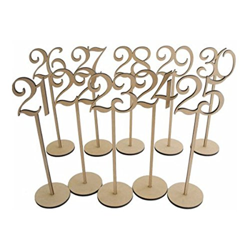 PIXNOR Wooden Table Numbers with Holder Base for Wedding or Home Decoration 1-30,Pack of 30 by PIXNOR (Image #2)
