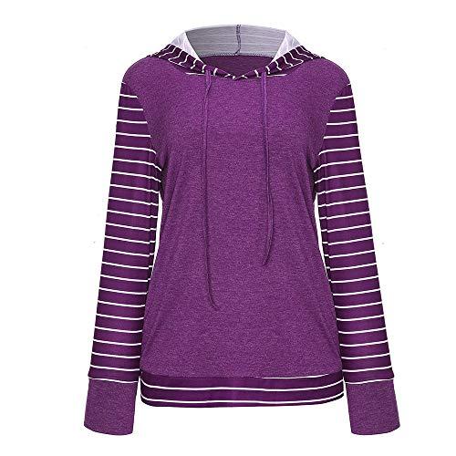 Wintialy Plus Size Women Long Sleeve Stripe Print Pullover Pocket Hooded Sweatshirt Tops