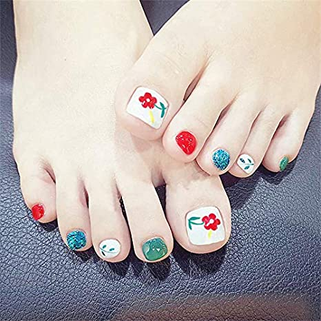 Veena New Fashion Red Flower Toe Nail Sticker Decal Water Transfer