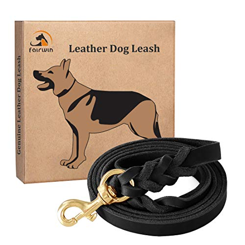 Fairwin Leather Dog Leash 6 Foot - Braided Best Military Grade Heavy Duty Dog Leash for Large Medium Small Dogs Training and Walking(L: 3/4 x 5.6 Foot)