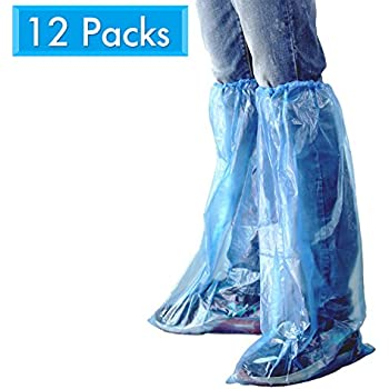 HUABEI 12 Pack Disposable Shoe Covers Blue Rain Shoes and