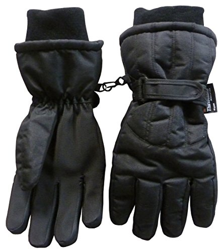 N'Ice Caps Women's Cold Weather Thinsulate and Waterproof Ski Gloves with Ridges (Medium, Black)