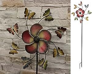 Metal Jardín Molino de viento de decoración de adorno de funda para de flores y mariposas