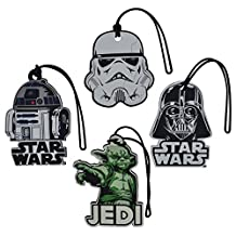 4 Pack Star Wars Luggage Suitcase Tags R2D2 Yoda Darth Vader & Stormtrooper Set
