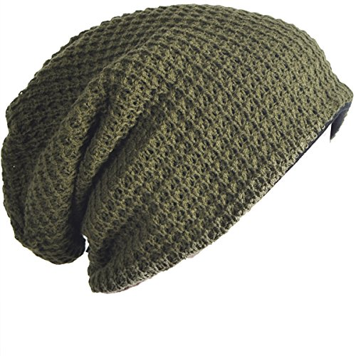 FORBUSITE Mens Slouchy Long Oversized Beanie Knit Cap for Summer Winter B08 Green