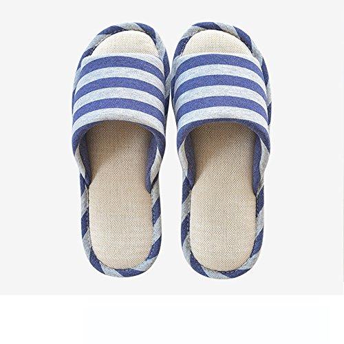 Cómodo Primavera y verano algodón y lino zapatos de cuatro estaciones Par de madera de piso de parachoques impermeables antideslizantes zapatos zapatillas de casa (6 colores opcional) (tamaño opcional E