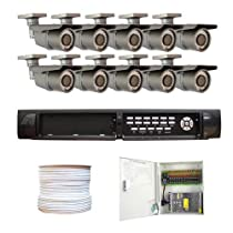 GW Security Inc. GW9016VE20 2T Complete 16-Channel DVR 2THDD with 10x700TVL 1/3-Inch CCDII 12mm Varifocal Outdoor Security CCTV Camera (Black/Grey)