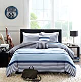 Teen Boys Bedding Rugby Stripe Blue Gray White Green FULL QUEEN Comforter + 2 Shams +2 Decorative Pillows + Home Style Sleep Mask Navy Boy Kids Comforters Sets (Full/Queen Blue Gray)