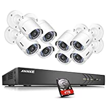 ANNKE 16CH 5 IN 1 3.0MP (1920x1536p) Security DVR System W/ 8x HD 1080P 2.0MP Waterproof Night vision Fixed Surveillance Camera, Super Night Vision, Smart Motion Detection, One 4TB HDD Included