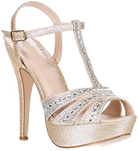 Deblossom Blossom Donna Vice-126-233 Da Sposa Festa Formale Da Sera Cinturino Alla Caviglia Tacco Alto Peep Toe Glitter Sandal Nude T Strap