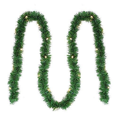 "12' x 2.5"" Pre-Lit Green Pine Artificial Christmas Garland - Clear Lights (Outdoor Pre-lit Christmas Garland)"