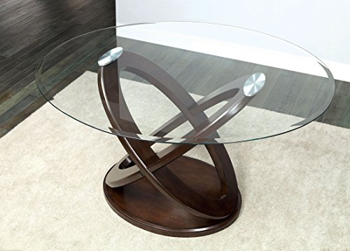Atenna II Dark Walnut Glass Top Oval Counter Height Pedestal Table