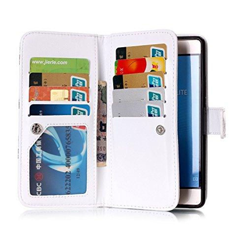 Funda de poliuretano para Huawei P9Lite, de piel, para Huawei P9Lite, funda de tipo libro con tarjetero, función atril + conector anti-polvo rosa 6 3