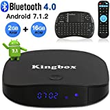 Kingbox Android TV Box, K2 Android 7.1 Box with 2GB RAM 16GB ROM Support Bluetooth 4.0 / H.265 / 4K Ultra HD / 3D / 2.4GHz WiFi Android Smart TV Box, Free Mini Keyboard [2018 Latest Version]