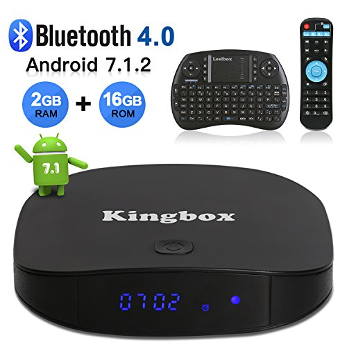 Kingbox Android 7.1 TV Box with 2GB RAM 16GB ROM, K2 Android Box Quad-Core Support H.265 / 4K Ultra HD / Bluetooth 4.0 / 2.4GHz WiFi Android Smart TV Box