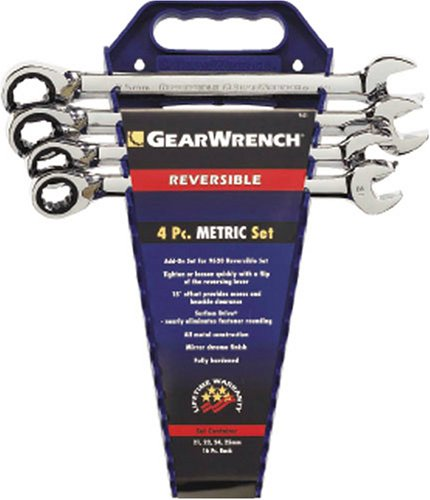 GEARWRENCH 9601 4 Piece Metric Reversible Ratcheting Wrench Completer Set ()