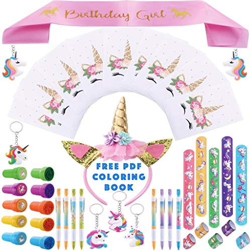 Party Spice 52 Pack Best Unicorn Birthday Party Favors Supplies Fillers, Sash, Crown,10x Set Bracelets, Stamps, Fun Pencils, Keychains, Goodie Bags, Kids Girls Rainbow Toys (Complete Party -
