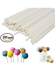 Lollipop Sticks 200Pcs Candy Making Sucker Sticks 6 Inch for Cake Pop,DIY Homemade Fruit Candy,Chocolate