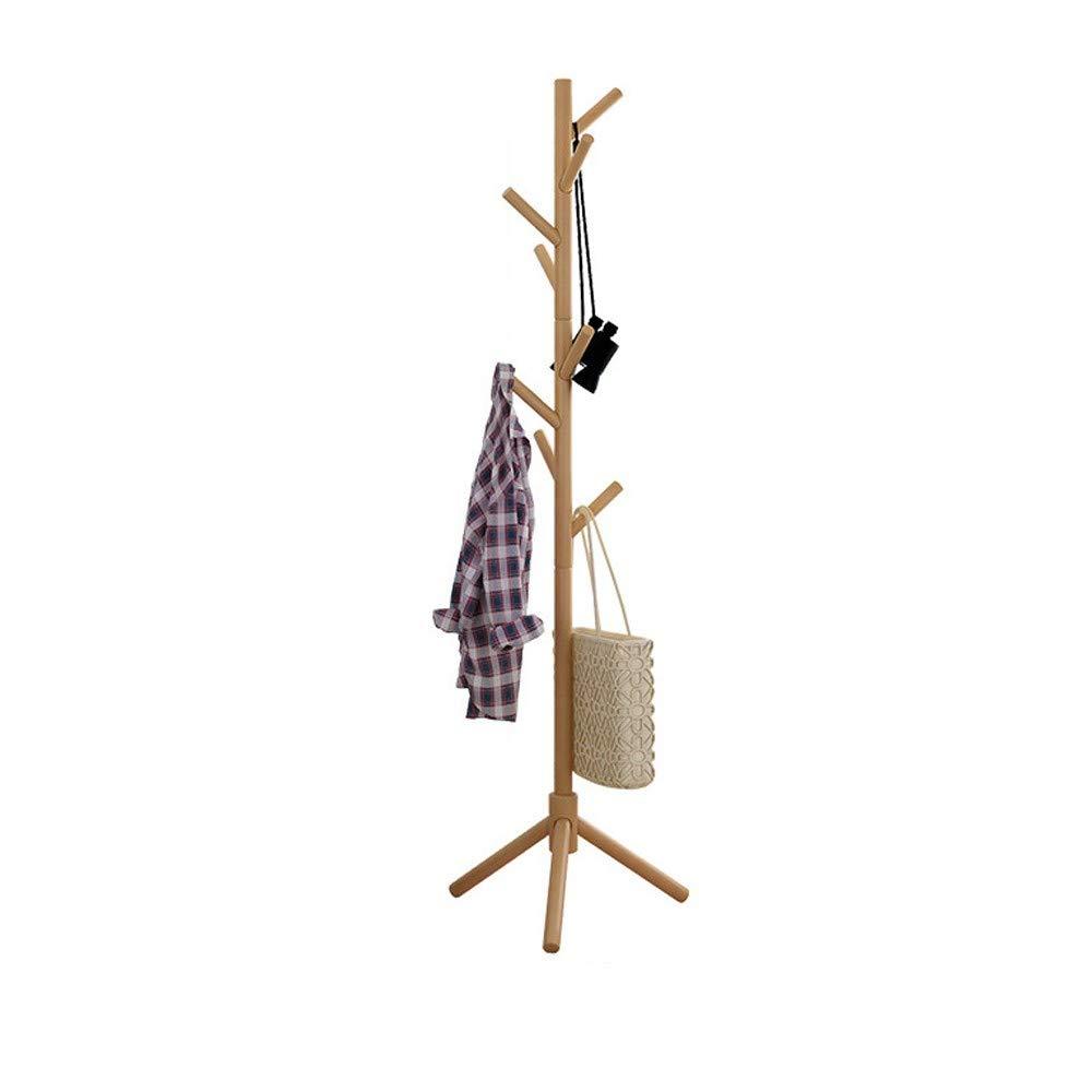 WONdere Solid Wood Coat Rack Hanger Floor Bedroom Multi-function Economy Rack Simple Standing Clothes Rack Home (B)