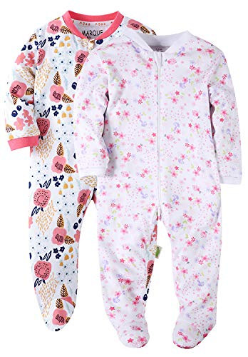 Floral Baby Girls' Footed Pajama - 100% Cotton Zip Front Sleep and Play Sleeper 24M