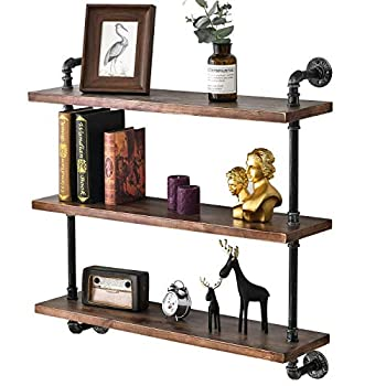 Image of BOSURU Industrial Pipe Shelving Rustic Wood Floating Shelves 3 Tiers Modern Wall Mount Bookshelf(Black,36 inch) Home and Kitchen