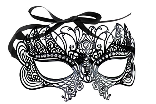 [Embellished Laser Cut Mask with Cut Rhinestones] (Contour Designs Costumes)