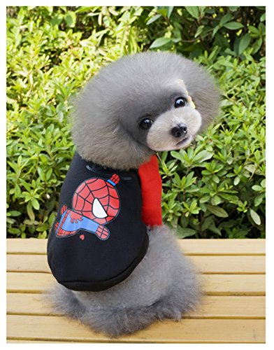Captain America Cat Costume (Dog Hoodies,Rdc Pet Clothes,Fleece Basic Hoodie Warm Sweater,Spiderman Batman IronMan Captain America Cotton Jacket Sweat shirt Coat for Small Dog Cat (L, Spiderman))