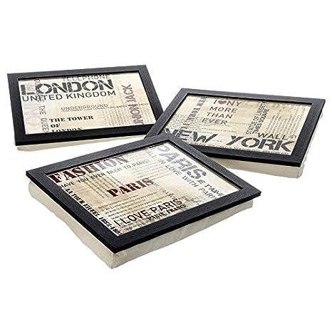 DCASA dcasa - Pack 3 Bandejas con cojín MDF 43 x 32,50 x 6,50 cm diseño Fashion Ciudades