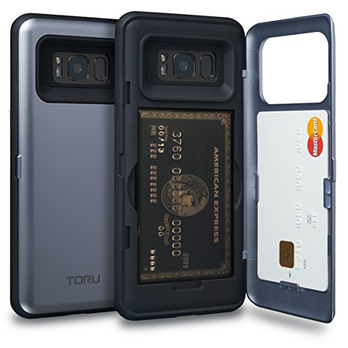 TORU CX PRO Galaxy S8 Wallet Case Blue with Hidden Credit Card Holder ID Slot Hard Cover & Mirror for Samsung Galaxy S8 - Orchid Gray