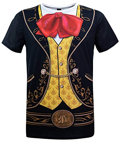 Funny World Men's Mexican Mariachi Costume T-Shirts (L, Black) -