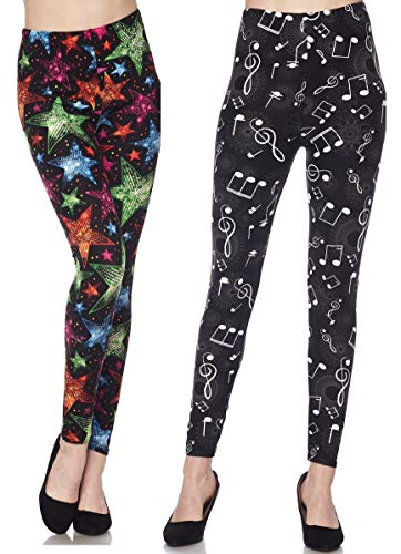 2 Pack Womens Premium Ultra Soft Fashion Leggings (Bright Colorful Stars & Whimsical Music Notes, Plus Size (L-2X / 12-20)) ()