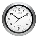 La Crosse Technology 10 Inch Silver & black Atomic Wall Clock