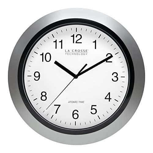 amazon la crosse technology atomic analog wall clock 10 5 00 Pm Clock la crosse technology atomic analog wall clock 10 silver