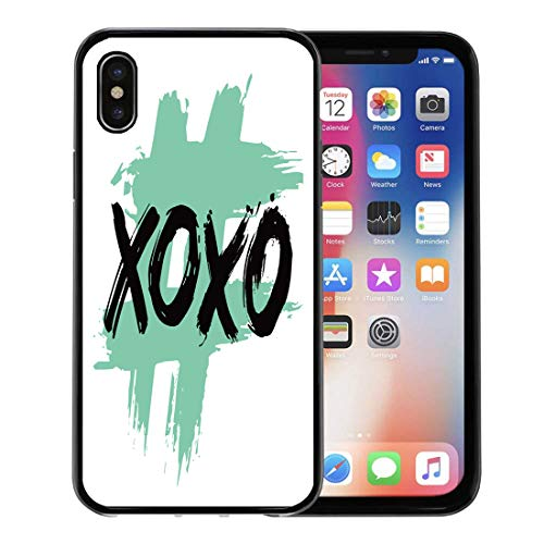 - Semtomn Phone Case for Apple iPhone Xs case,Abstract XOXO Love Hugs and Kisses Text Message Brush Lettering Beautiful Cute for iPhone X Case,Rubber Border Protective Case,Black