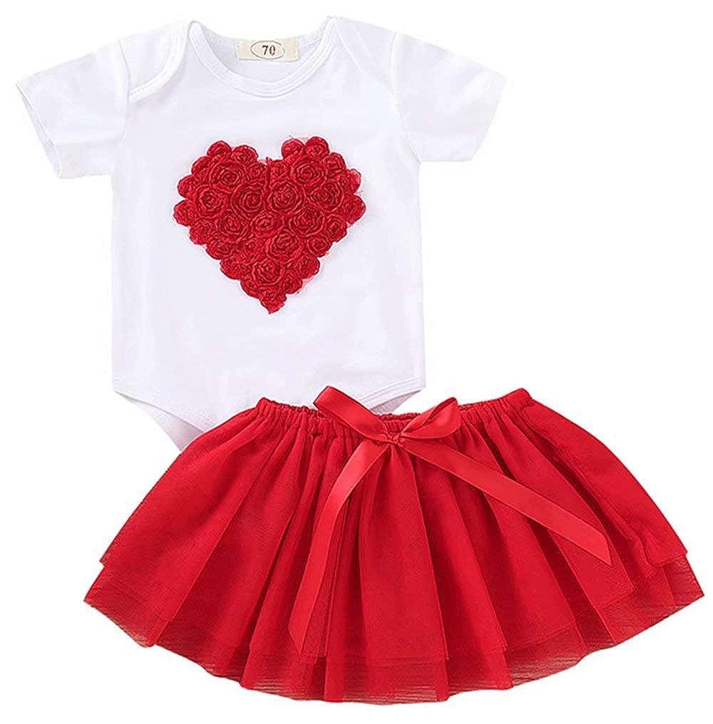 KIDDAD Kids Baby Girls 2 pcs Birthday Gift Love and Floral Heart Short Sleeves Romper+Tutu Tulle Skirts Set