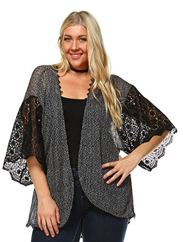 Zoozie LA Women's Lace Cardigans with Crochet Details Sweaters
