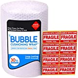 "Bubble Cushioning Wrap Roll for Packing (3/16"", 12"" x 32 ft), Easy-to-Tear 12"" Sheets, Plus Free 8 'Fragiile, Handle with Care' Stickers"