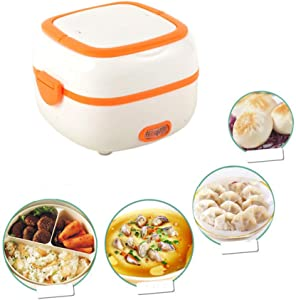 ANGELA Multi-Function Electric Lunch Box Mini Rice Cooker Portable Steamer Stainless Steel Bowl Egg Steaming Rack - Suitable for Home Office Outdoor,Orange