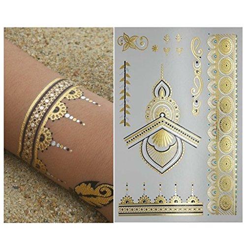 Henna Tattoo Dubai Price: Henna Metallic Flash Temporary Tattoo (6 Sheets) Gold
