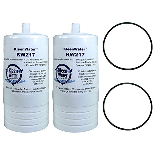 Aqua-Pure AP217 AP200 Compatible Filters, KleenWater KW217 Drinking Water System Replacement Cartridge, Set of 2, Includes O-rings (Action Filter)