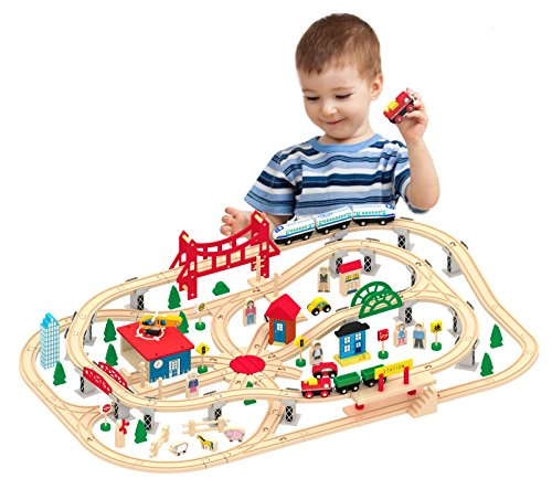 (Kids Destiny Deluxe Wooden Railway Set with Vocal Sound and Lots of accessories (130+ pcs) - 100% Compatible with All Major Brands Including Thomas Wooden Railway)