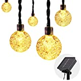 Moko Solar Powered String Lights Outdoor, 21.3ft/6.5m 30 LED Bubble Ball Fairy Light Waterproof for Garden Decoration Patio Grass Lawn Tree Flower Fence - Warm White