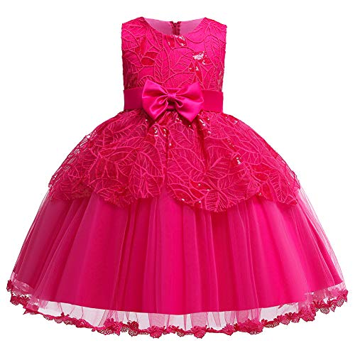 KISSOURBABY Big Girls Wedding Christmas Dresses Child Party Host Bowknot Summer Holiday Rose Dress(Rose120)]()