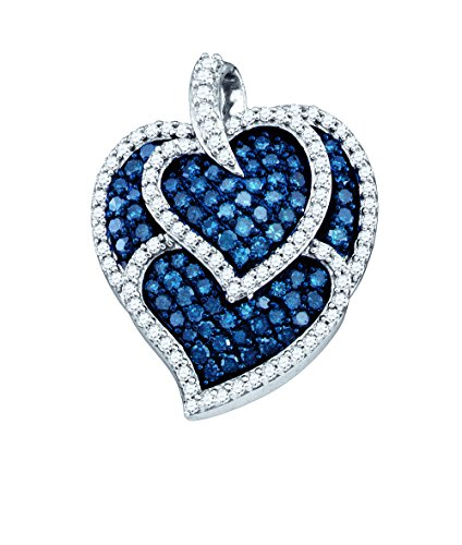 10kt White Gold Womens Round Blue Colored Diamond Heart Love Fashion Pendant 1.00 Cttw - 24 Pendant 10kt Gold Jewelry