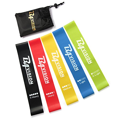 Resistance Bands- Exercise Bands –-Workout Bands– Fitness Stretching Elastic Exercise Loop Bands – Set of 5 Elastic Bands – Fitness Accessories Perfect for Pilates, Yoga, Injury Rehab, Therapy
