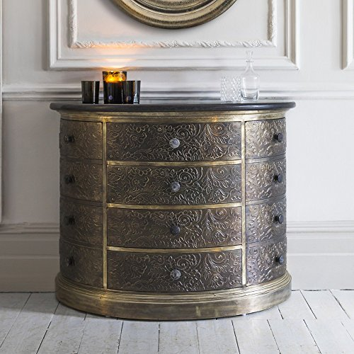 Luxury Handicrafts Antique Metal Chest of Drawer with Granite Top ()