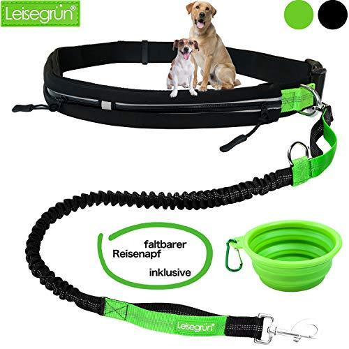 Joggingleine mit Bauchgurt. Verstellbare Freihandleine mit Sport Laufgürtel. Jogging Hundeleine für große und mittelgroße Hunde. Elastische und reflektierende Laufleine im Set. Schwarz grün