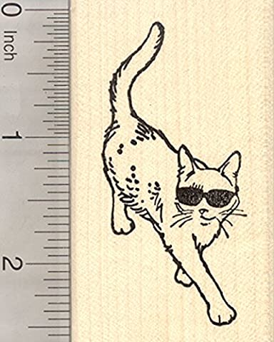 Cat in Sunglasses Rubber Stamp - Products Rubber Stamp
